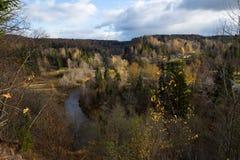 Река Amata на осени, деревьях, воде, скалах Природа и река, стоковая фотография rf