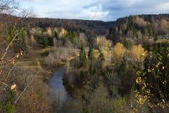 Река Amata на осени, деревьях, воде, скалах Природа и река, стоковые фотографии rf