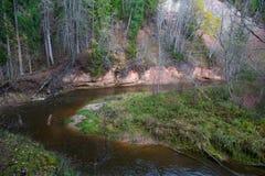 Река Amata на осени, деревьях, воде, скалах Природа и река, стоковое изображение rf