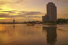 Река Chaopraya неба вечера Стоковая Фотография RF