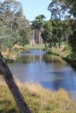 Река Coliban по потоку от запруды резервуара Lauriston Стоковое Изображение