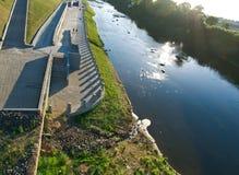 Река Dnipro и мост Стоковая Фотография