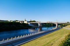 Река Dnipro и мост Стоковые Фотографии RF