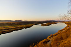 Река Ergun на заходе солнца Стоковые Изображения