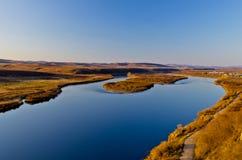 Река Ergun на заходе солнца Стоковое Изображение
