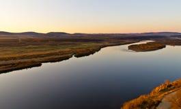 Река Ergun на заходе солнца Стоковые Изображения RF