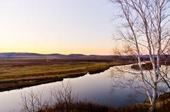 Река Ergun на заходе солнца Стоковые Фотографии RF