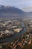 Река Isere, Гренобль, юговосточная Франция Стоковое Изображение