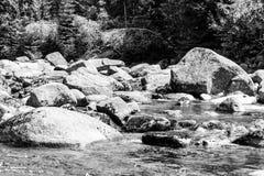 Река Jizera вполне утесов на солнечный летний день, гор гранита Jizera, чехии стоковая фотография