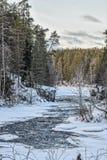 Река Kitkajoki в национальном парке Korouoma Стоковые Изображения