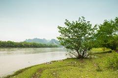 Река Lijiang с обеих сторон пастырского пейзажа Стоковое Изображение