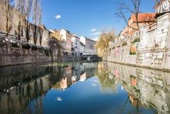 Река Ljubljanica Стоковое Фото