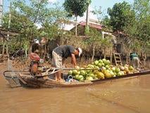 река mekong кокоса шлюпки Стоковое фото RF