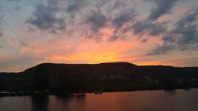 Река mosel Belstein захода солнца Стоковые Изображения RF