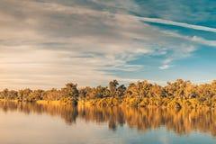 Река Murray на заходе солнца Стоковое фото RF