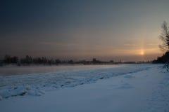 Река Neva в льде Стоковые Фотографии RF