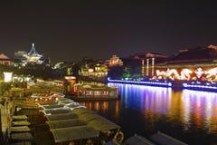 река qinhuai ночи Стоковое Фото