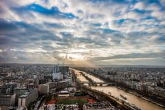 Река Sein в Париже к день Стоковая Фотография RF