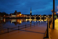 Река Severn разрывает свои банки в Вустере Стоковое Фото