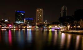 река singapore ночи жизни Стоковые Фотографии RF