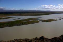 Река Thjorsa в Исландии Стоковое Изображение