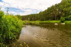 Река Ural в древесине стоковая фотография