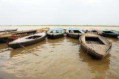 река varanasi ganges Индии шлюпок Стоковое Фото