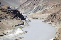Река Zanskar, Ladakh, Индия Стоковое Фото