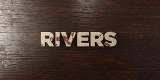 Реки - grungy деревянный заголовок на клене - представленное 3D изображение неизрасходованного запаса королевской власти иллюстрация штока