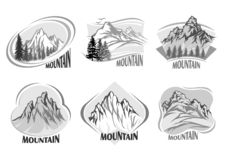 Реклама винтажных гор и серых теней бесплатная иллюстрация
