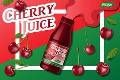 Реклама сока вишни свежая Изолированное объявление пакета контейнера сока реалистическая зрелая иллюстрация вектора вишни 3d для иллюстрация штока