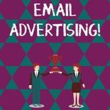 Реклама электронной почты показа знака текста Схематический поступок фото отправки коммерчески сообщения в человека и женщину цел иллюстрация вектора