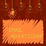 Реклама электронной почты показа знака текста Схематический поступок фото отправки коммерчески сообщения в целевой рынок установи иллюстрация вектора