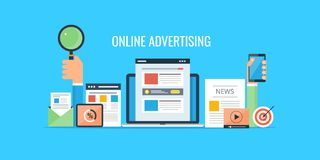 Рекламировать онлайн - маркетинг вебсайта - коммерчески продавать Плоское знамя рекламы дизайна стоковые изображения