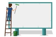Рекламировать работника кладя вверх по плакатам на афишу Стоять на устанавливая лестнице иллюстрация штока