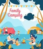 Рекламировать располагаться лагерем семьи надписи плаката иллюстрация вектора