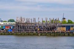 Реконструкция исторического корабля VOC Стоковые Изображения