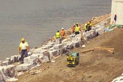 Реконструкция речного берега, строительный проект 2 Стоковая Фотография RF