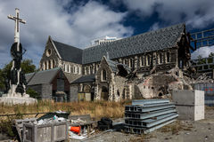 Реконструкция собора Крайстчёрча после землетрясения Стоковые Изображения