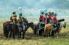 Реконструкция сражений патриотической войны города Maloyaroslavets 1812 русских Стоковые Изображения