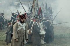 Реконструкция сражений патриотической войны города Maloyaroslavets 1812 русских Стоковые Фото