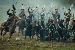 Реконструкция сражений патриотической войны города Maloyaroslavets 1812 русских Стоковое фото RF