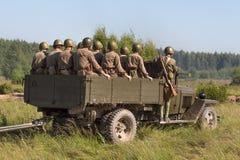 Реконструкция сражения Второй Мировой Войны стоковое изображение