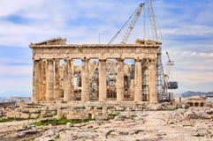 реконструкция athens Греции акрополя стоковые изображения