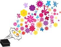 Рекордный игрок винила цветет патефон музыки ретро винтажный также вектор иллюстрации притяжки corel белизна изолированная предпо Стоковое Изображение RF
