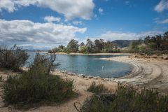 Рекреационная зона резервуара Скиннера озера на пасмурный день в Temecula, Riverside County, Калифорнии стоковые изображения