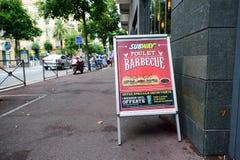 Реклама ресторана фаст-фуда метро Стоковое Фото