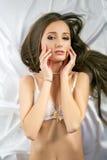 рекламировать нижнее белье Взгляд сверху сексуальной модели Стоковое фото RF