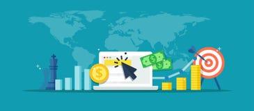 Рекламная компания реклама онлайна - абстрактная иллюстрация в плоском стиле Знамя маркетинга интернета Концепция стратегии, e-co Стоковая Фотография