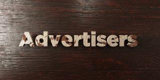 Рекламодателя - grungy деревянный заголовок на клене - представленное 3D изображение неизрасходованного запаса королевской власти иллюстрация штока